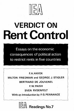 Verdict on Rent Control: Essays on the economic consequences of political action to restrict rents in five countries